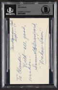 """Autographs:Post Cards, 1951 """"Wahoo"""" Sam Crawford Signed Government Postcard, BAS Authentic...."""