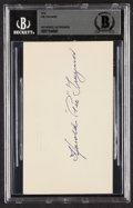 "Autographs:Post Cards, 1951 Harold ""Pie"" Traynor Signed Government Postcard, BAS Authentic...."