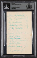 Autographs:Post Cards, 1949 Philadelphia Phillies Multi-Signed Government Postcard, BAS Authentic (13 Signatures)....