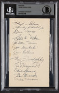 Autographs:Index Cards, 1948-49 Chicago Stags Multi-Signed Government Postcard, BAS Authentic (12 Signatures)....