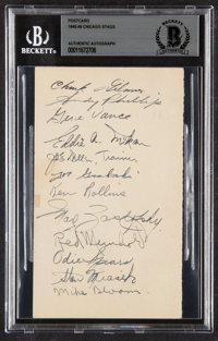 1948-49 Chicago Stags Multi-Signed Government Postcard, BAS Authentic (12 Signatures)