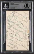 Autographs:Index Cards, 1948 Brooklyn Dodgers Multi-Signed Government Postcard, BAS Authentic (20 Signatures)....