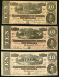 Confederate Notes:1864 Issues, T68 $10 1864 Three Different Series Very Fine-Extremely Fine.. ... (Total: 3 notes)