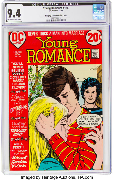 Young Romance #188 Murphy Anderson File Copy (DC, 1972) CGC NM 9.4 Off-white to white pages....