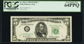 Low Serial Number 19 Fr. 1961-A $5 1950 Wide I Federal Reserve Note. PCGS Very Choice New 64PPQ