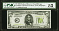 Small Size:Federal Reserve Notes, Fr. 1955-G* $5 1934 Light Green Seal Federal Reserve Note. PMG About Uncirculated 53.. ...