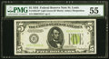 Fr. 1955-H* $5 1934 Light Green Seal Federal Reserve Note. PMG About Uncirculated 55