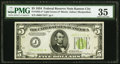 Fr. 1955-J* $5 1934 Light Green Seal Federal Reserve Note. PMG Choice Very Fine 35
