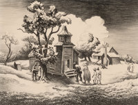 Thomas Hart Benton (American, 1889-1975) Sunday Morning Lithograph on paper 9-5/8 x 12-5/8 inches