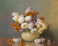A.D. Greer (American, 1904-1998) Asters Oil on canvas 24 x 30 inches (61.0 x 76.2 cm) Signed u