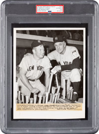 1951 Mickey Mantle Wears #7 for First Time Original News Photograph--UPI's Proof for Wire Photo Production, PSA/DNA Type...
