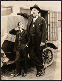 """Harold Lloyd and John Aasen in Why Worry (Pathé, 1923). Fine+. Behind-the-Scenes Photo (7.25"""" X 9.5"""")..."""