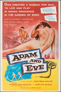 "Adam and Eve (William A. Horne, 1958). Folded, Fine/Very Fine. Poster (40"" X 60""). Drama"