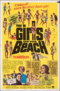 """The Girls on the Beach & Other Lot (Paramount, 1965). Folded, Fine. One Sheet (27"""" X 41""""). Rock and Ro..."""