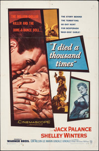 """I Died a Thousand Times (Warner Bros., 1955). Folded, Fine. One Sheets (2) Identical (27"""" X 41""""). Film Noir..."""