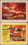 "Movie Posters:Drama, Trapeze & Other Lot (United Artists, 1956). Folded, Fine/Very Fine. Half Sheets (2) (22"" X 28"") & One Sheet (27"" X 41"") Styl... (Total: 3 Items)"