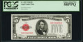 Small Size:Legal Tender Notes, Fr. 1525 $5 1928 Legal Tender Note. PCGS Choice About New 58PPQ.. ...
