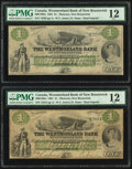 World Currency, Canada Moncton, NB- Westmorland Bank of New Brunswick 1 Dollar 1.8.1861 Ch.# 800-12-02a PMG Fine 12.. ... (Total: 2 notes)