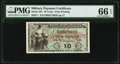 Military Payment Certificates:Series 481, Series 481 10¢ First Printing PMG Gem Uncirculated 66 EPQ.. ...