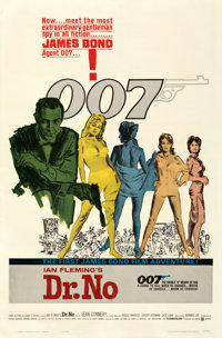 "Dr. No (United Artists, 1962). Fine+ on Linen. One Sheet (27"" X 41"") Colored Smoke Style. Mitchell Hooks Artwo..."