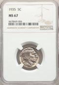Buffalo Nickels: , 1935 5C MS67 NGC. NGC Census: (35/1). PCGS Population: (179/4). CDN: $700 Whsle. Bid for problem-free NGC/PCGS MS67. Mintag...