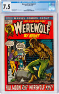 Bronze Age (1970-1979):Horror, Werewolf by Night #1 (Marvel, 1972) CGC VF- 7.5 Off-white to white pages....