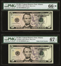 Radar 48000084 Fr. 1996-F $5 2013 Federal Reserve Note. PMG Superb Gem Unc 67 EPQ; Radar 47000074 Fr. 1996-F $5