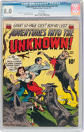 Golden Age (1938-1955):Horror, Adventures Into The Unknown #18 (ACG, 1951) CGC VF 8.0 White pages....
