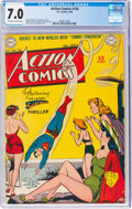 Golden Age (1938-1955):Superhero, Action Comics #136 (DC, 1949) CGC FN/VF 7.0 Off-white to white pages....