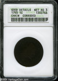Large Cents: , 1793 Chain 1C AMERICA--Corroded--ANACS. Good Details, Net AG3....