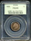 Proof Indian Cents: , 1869 1C PR64 Red and Brown PCGS....