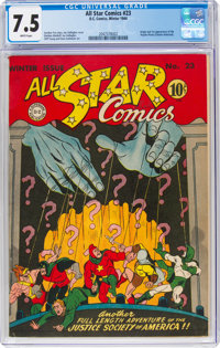 All Star Comics #23 (DC, 1944) CGC VF- 7.5 White pages