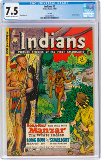 "Indians #2 Davis Crippen (""D"" Copy) Pedigree (Fiction House, 1950) CGC VF- 7.5 Cream to off-white pages"