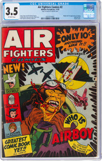 Air Fighters Comics #2 (Hillman Fall, 1942) CGC VG- 3.5 Off-white pages