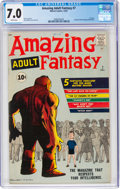 Silver Age (1956-1969):Science Fiction, Amazing Adult Fantasy #7 (Marvel, 1961) CGC FN/VF 7.0 White pages....