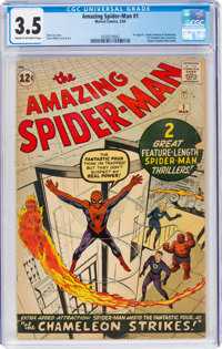 The Amazing Spider-Man #1 (Marvel, 1963) CGC VG- 3.5 Cream to off-white pages