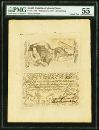 South Carolina February 8, 1779 $50 Complete Sheet of Two PMG About Uncirculated 55