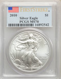 (5)2010 $1 Silver Eagle, First Strike MS70 PCGS. PCGS Population: (25821). NGC Census: (44158).... (Total: 5 item)
