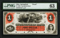 Springfield, OH- Springfield Bank $1 18__ as G6a Wolka 2452-02 Proof PMG Choice Uncirculated 63