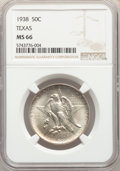 Commemorative Silver, 1938 50C Texas MS66 NGC. NGC Census: (239/53). PCGS Population: (247/72). CDN: $450 Whsle. Bid for problem-free NGC/PCGS MS...