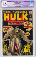 Silver Age (1956-1969):Superhero, The Incredible Hulk #1 (Marvel, 1962) CGC Apparent FR/GD 1.5 Slight (B-1) Off-white to white pages....