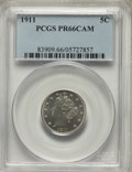 1911 5C PR66 Cameo PCGS. PCGS Population: (36/17). NGC Census: (18/9). PR66. From The Michelle McCaulley Memorial Col
