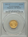 Liberty Quarter Eagles, 1851-D $2 1/2 -- Repaired -- PCGS Genuine. XF Details. NGC Census: (6/76). PCGS Population: (10/66). CDN: $2,000 Whsle. Bid...