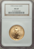 Modern Bullion Coins, 1990 $25 Half-Ounce Gold Eagle MS69 NGC. NGC Census: (3405/60). PCGS Population: (647/13). CDN: $2,080 Whsle. Bid for probl...