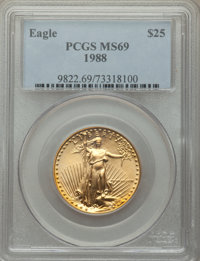 1988 $25 Half-Ounce Gold Eagle MS69 PCGS. PCGS Population: (1380/43). NGC Census: (4519/139). CDN: $1,575 Whsle. Bid for...