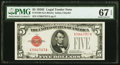 Fr. 1530 $5 1928E Legal Tender Note. PMG Superb Gem Unc 67 EPQ