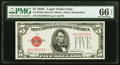 Small Size:Legal Tender Notes, Fr. 1528 $5 1928C Mule Legal Tender Note. PMG Gem Uncirculated 66 EPQ.. ...