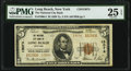 National Bank Notes:New York, Long Beach, NY - $5 1929 Ty. 2 The National City Bank Ch. # 13074 PMG Very Fine 25 EPQ.. ...