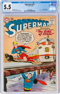 Superman #123 (DC, 1958) CGC FN- 5.5 Off-white to white pages