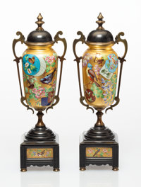 A Pair of Enameled and Gilt Metal Covered Urns-on-Stand, 20th century 12-3/4 x 4-1/4 x 3 inches (32.4 x 10.8 x 7.6